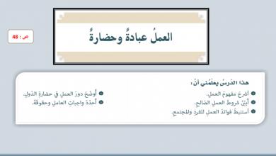 Photo of صف سابع فصل ثاني تربية إسلامية حل درس العمل عبادة وحضارة