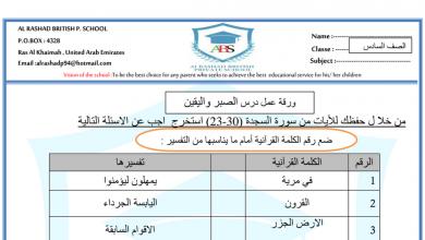 Photo of أوراق عمل الصبر واليقين وحكم الإدغام تربية اسلامية صف سادس فصل ثاني