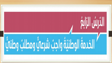 Photo of صف ثاني عشر فصل ثاني تربية إسلامية حل الخدمة الوطنية واجب شرعي ومطلب وطني