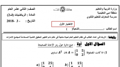 Photo of صف ثاني عشر عام فصل ثاني رياضيات  تقويم أول