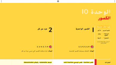 Photo of صف ثالث فصل ثاني دليل المعلم رياضيات الوحدة 10 الكسور