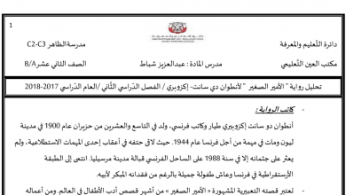 Photo of صف ثاني عشر فصل ثاني لغة عربية تحليل رواية الأمير الصغير