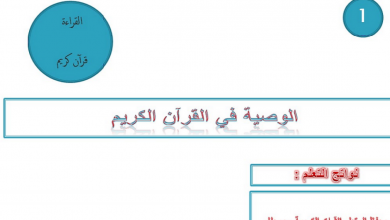 Photo of صف تاسع فصل ثاني تربية إسلامية الوصية في القرآن الكريم