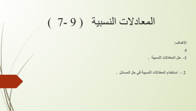 Photo of صف تاسع فصل ثاني رياضيات  المعادلات النسبية