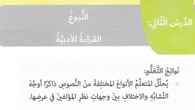 Photo of درس النبوغ لغة عربية صف سادس فصل ثاني