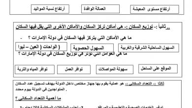 Photo of ملخص السكان في دولة الإمارات العربية دراسات اجتماعية صف رابع فصل ثاني