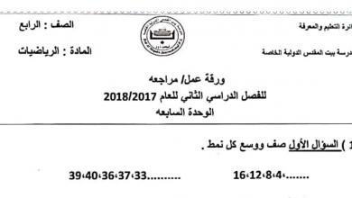 Photo of أوراق عمل مراجعة الوحدة السابعة رياضيات صف رابع فصل ثاني