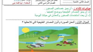 Photo of ورق عمل الصخور والمعادن علوم صف ثاني فصل ثاني