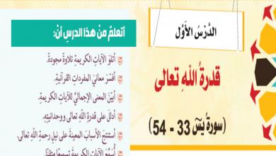 Photo of حل درس قدرة الله تعالى الآيات 33 – 54 تربية إسلامية صف ثامن فصل ثاني