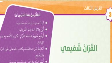 Photo of حل درس القرآن شفيعي تربية إسلامية صف خامس فصل ثاني