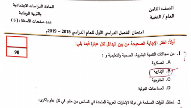 Photo of امتحان نهاية الفصل الأول 2018 دراسات اجتماعية صف ثامن