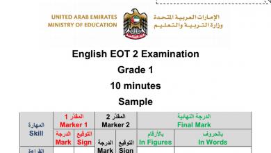 Photo of صف أول فصل ثاني لغة إنجليزية نموذج امتحان قراءة وكتابة