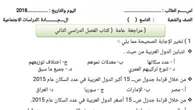 Photo of صف تاسع مراجعة شاملة للفصل الثاني في مادة الدراسات الاجتماعية