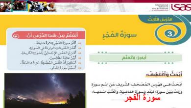 Photo of صف ثالث فصل ثاني تربية إسلامية درس سورة الفجر