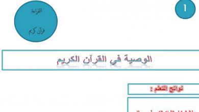 Photo of صف سابع فصل ثاني لغة عربية درس الوصية في القرآن الكريم