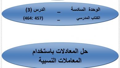 Photo of صف سابع فصل ثاني رياضيات حل المعادلات بإستخدام المعاملات النسبية صفحة 458-459-460