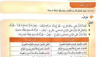 Photo of صف رابع فصل ثاني لغة عربية حلول درس أقسام الفعل