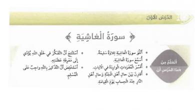 Photo of صف رابع فصل ثاني تربية إسلامية درس سورة الغاشية مع الحل