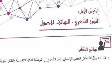 Photo of صف ثامن فصل ثاني لغة عربية حلول درس الهاتف المحمول
