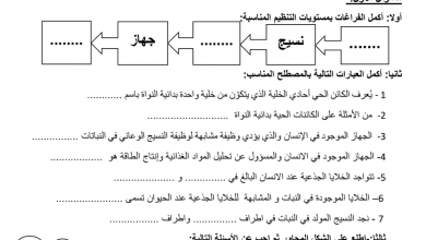 Photo of صف ثامن فصل ثاني علوم مراجعة درس مستويات التنظيم مع الإجابات