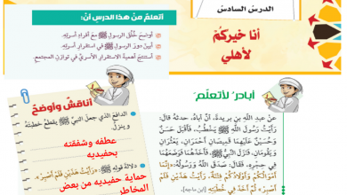 Photo of صف ثامن فصل ثاني تربية إسلامية درس انا خيركم لأهلي