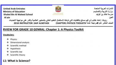 Photo of صف عاشر عام مراجعة عامة فيزياء منهج إنجليزي