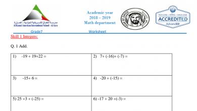 Photo of إنجليزي صف سابع فصل أول رياضيات أوراق عمل منهج