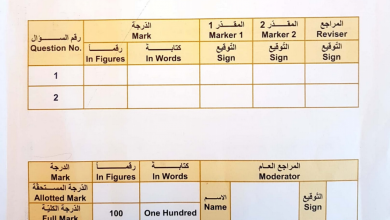 Photo of صف سادس امتحان نهاية الفصل الأول 2017 رياضيات منهج إنجليزي