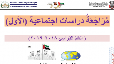 Photo of مراجعة الوحدة الثانية وطني الإمارات دراسات اجتماعية صف أول فصل أول