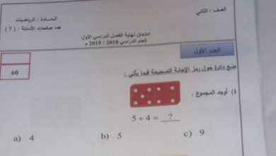 Photo of امتحان نهاية الفصل الأول 2018 رياضيات صف ثاني