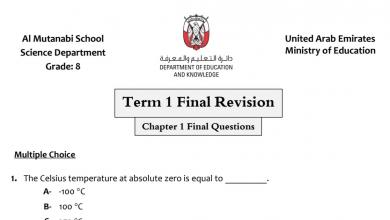 Photo of مراجعة نهائية علوم منهج إنجليزي صف ثامن فصل أول