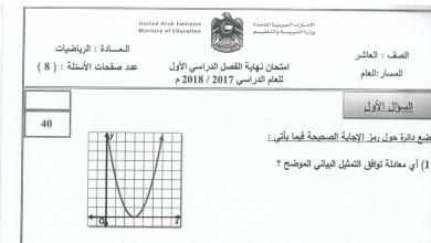 Photo of صف عاشر عام رياضيات امتحان نهاية الفصل الأول 2017