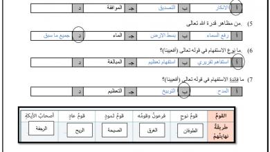 Photo of صف سابع تربية إسلامية أوراق عمل فصل أول