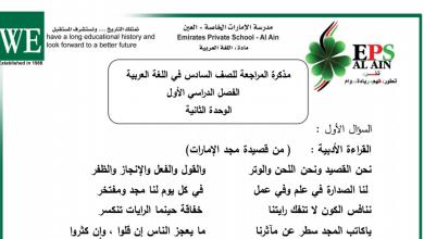 Photo of مذكرة مراجعة الوحدة الثانية لغة عربية صف سادس فصل أول