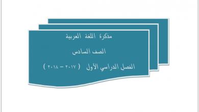 Photo of مذكرة لغة عربية صف سادس فصل أول