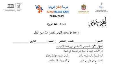 Photo of أوراق عمل مراجعة لغة عربية صف سادس فصل أول