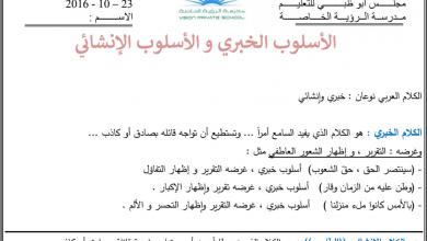 Photo of أوراق عمل الأسلوب الخبري والأسلوب الإنشائي لغة عربية صف سادس فصل أول
