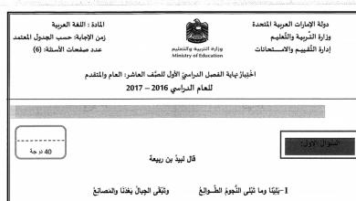 Photo of امتحان نهاية الفصل الأول 2016 لغة عربية صف عاشر عام ومتقدم