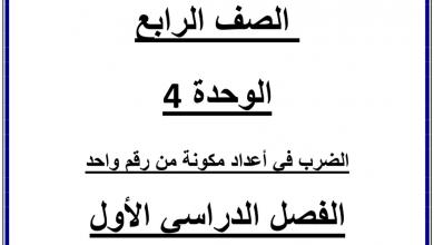 Photo of مراجعة الوحدة الرابعة الضرب في عدد مكون من رقم واحد رياضيات صف رابع فصل أول