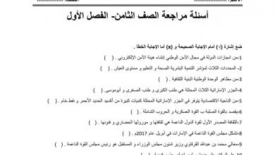 Photo of مراجعة 2 دراسات اجتماعية صف ثامن فصل أول