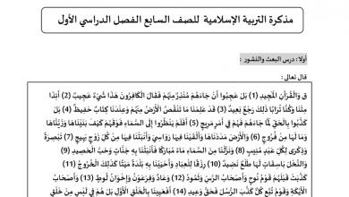 Photo of مذكرة تربية اسلامية صف سابع فصل أول
