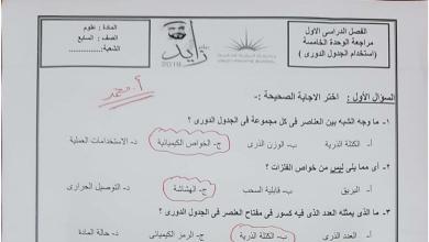 Photo of امتحان في الوحدة الخامسة استخدام الجدول الدوري علوم صف سابع فصل أول