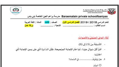 Photo of أوراق عمل شاملة لغة عربية صف ثالث فصل أول