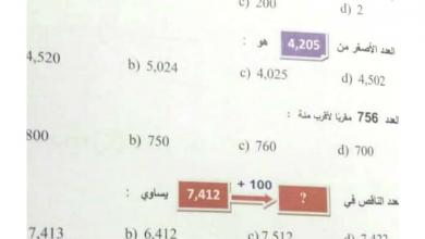 Photo of امتحان نهاية الفصل الأول 2016 رياضيات صف ثالث