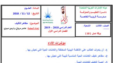 Photo of ورق عمل مظاهر التكيف علوم صف ثالث فصل أول