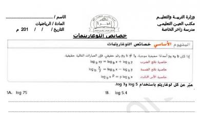 Photo of أوراق عمل خصائص اللوغارتميات رياضيات صف ثاني عشر عام فصل أول