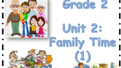 Photo of family time الوحدة الثانية لغة إنجليزية صف ثاني فصل أول