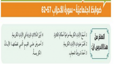 Photo of حل درس ضوابط اجتماعية تربية إسلامية صف حادي عشر فصل ثالث