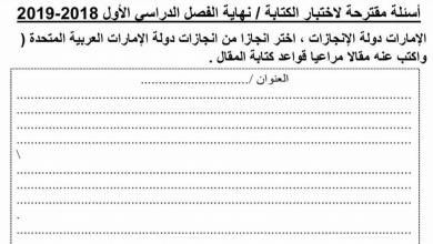 Photo of نماذج لامتحان الكتابة مع بعض المواضيع لغة عربية صف سادس فصل أول