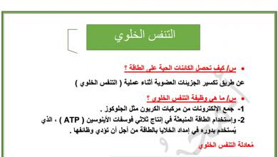 Photo of ملخص التنفس الخلوي أحياء صف عاشر فصل أول